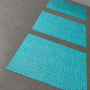 3/$15❗️ Placemats Square Teal and Gray Basketweave